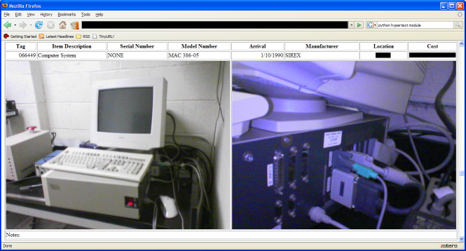 Screenshot of Inventory Report in Firefox